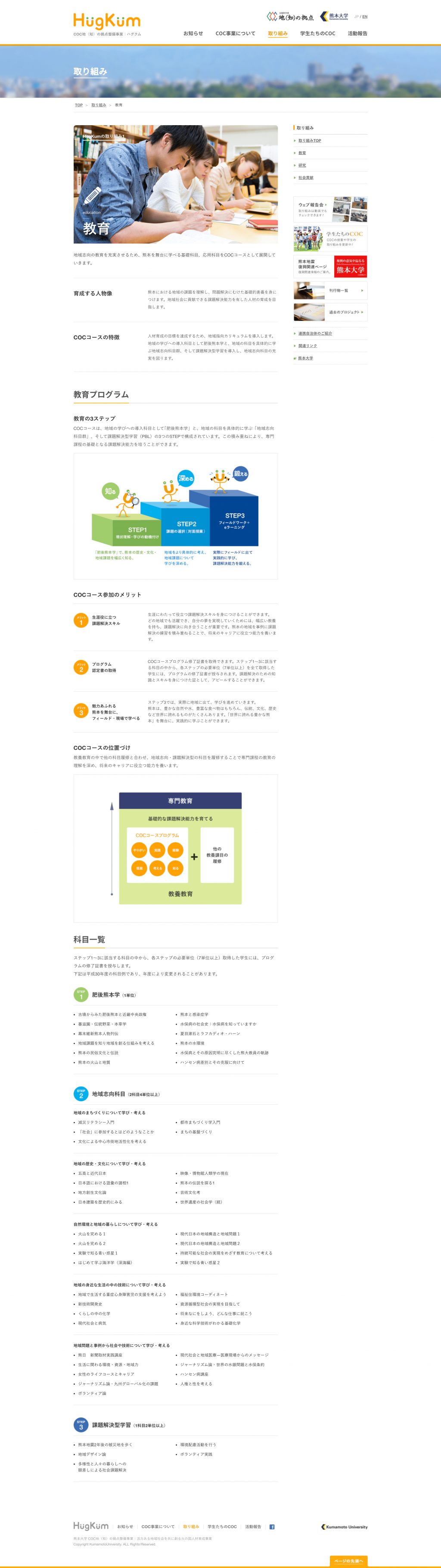 HugKum 熊本大学COC事業サイトのパソコン表示