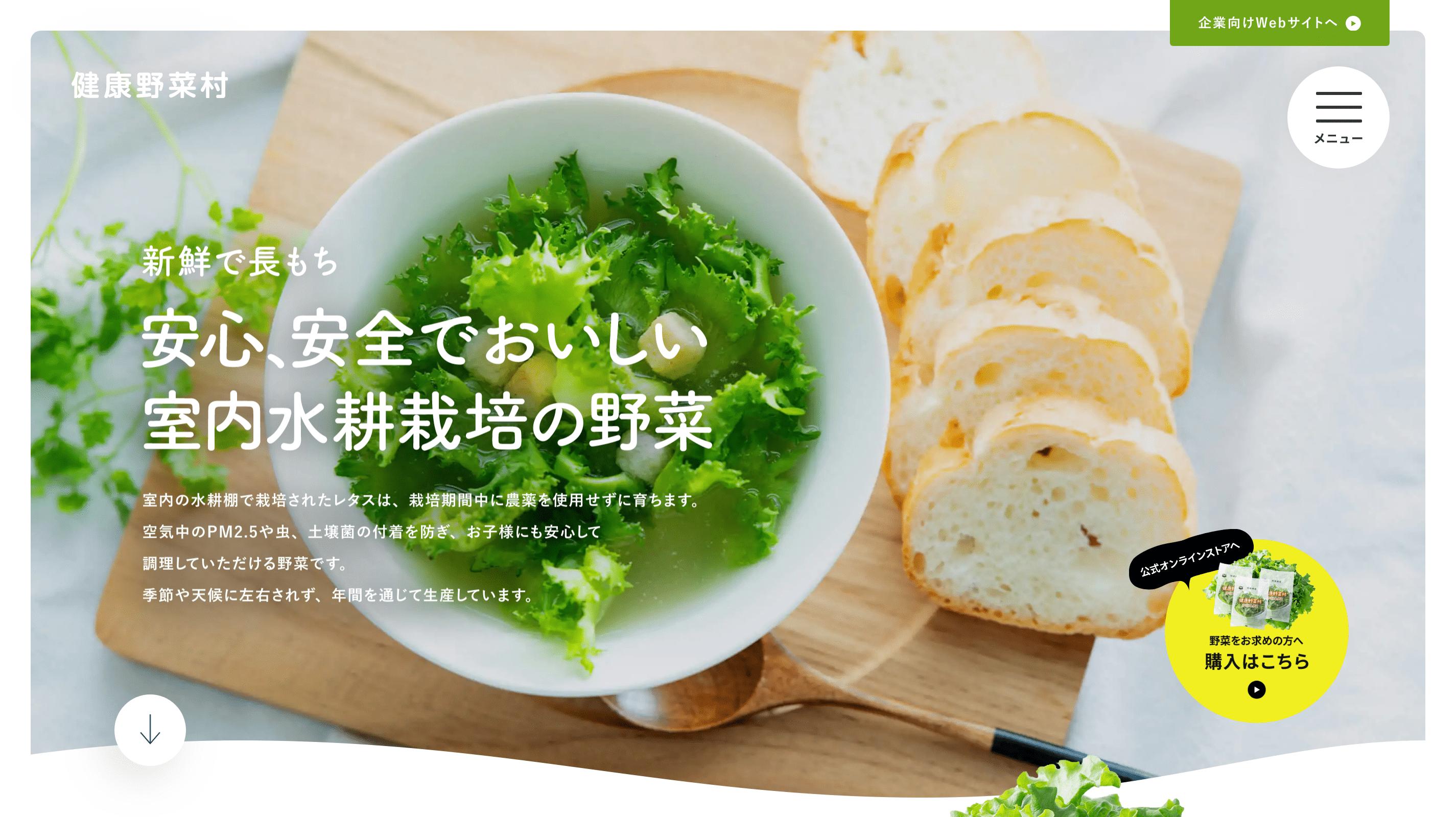 健康野菜村サイトのパソコン表示